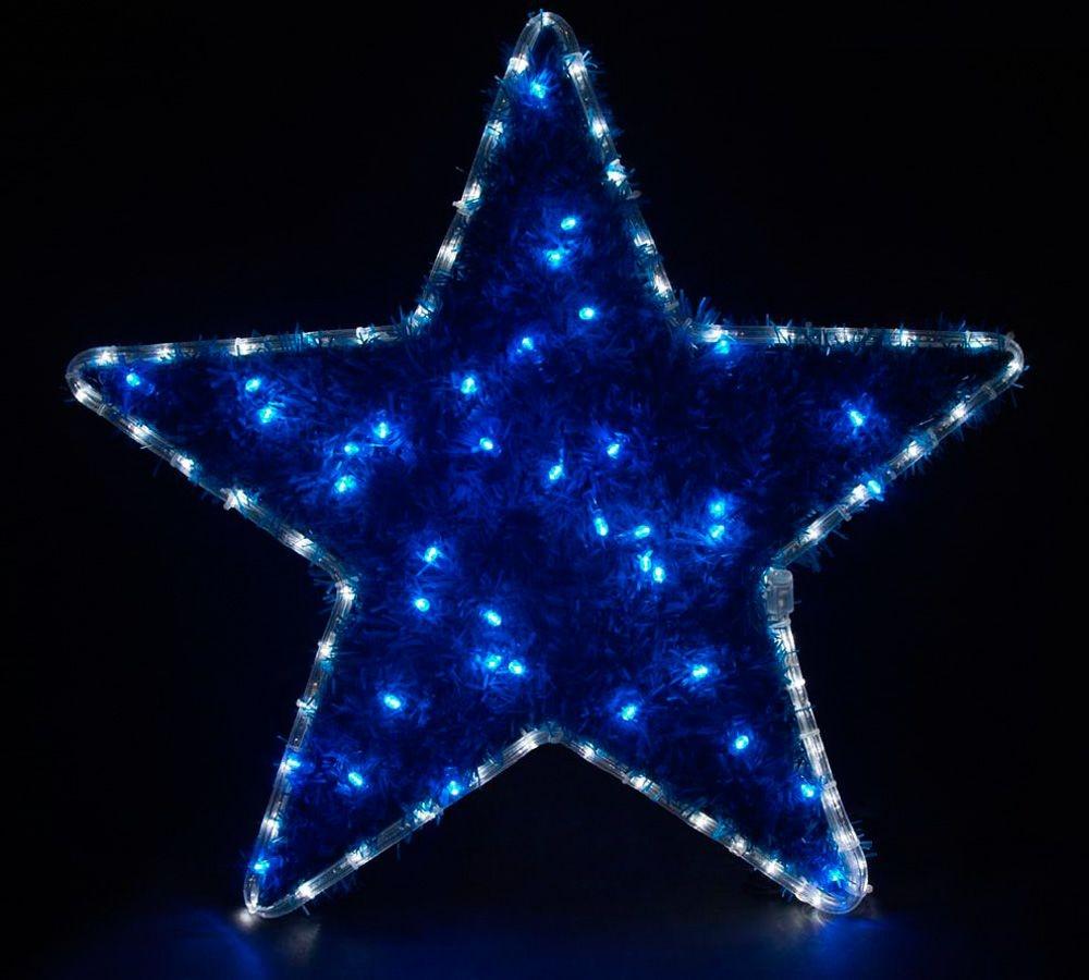 26713 Световая фигура звезда 230V, белый+синий, 24 LED/1м, 20mA, IP 44, Feron LT015