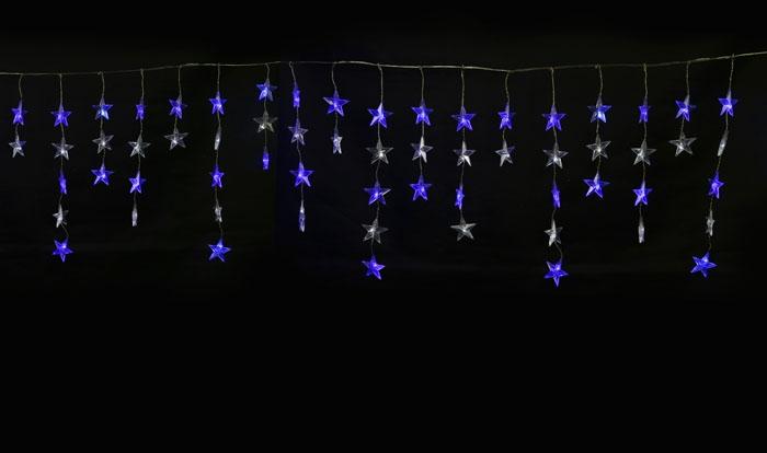 ULD-E5505-196-DTK белый и синий Занавес светодиодный фигурный Звёздочки-1  Uniel 5.5х 0.5м UL-00001410