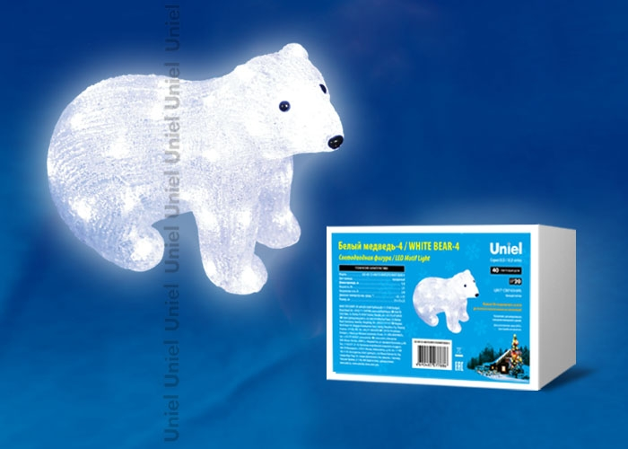 Фигурка светодиодная «Белый медведь-4» 25x31см (11037) Uniel ULD-M3125-040/STA