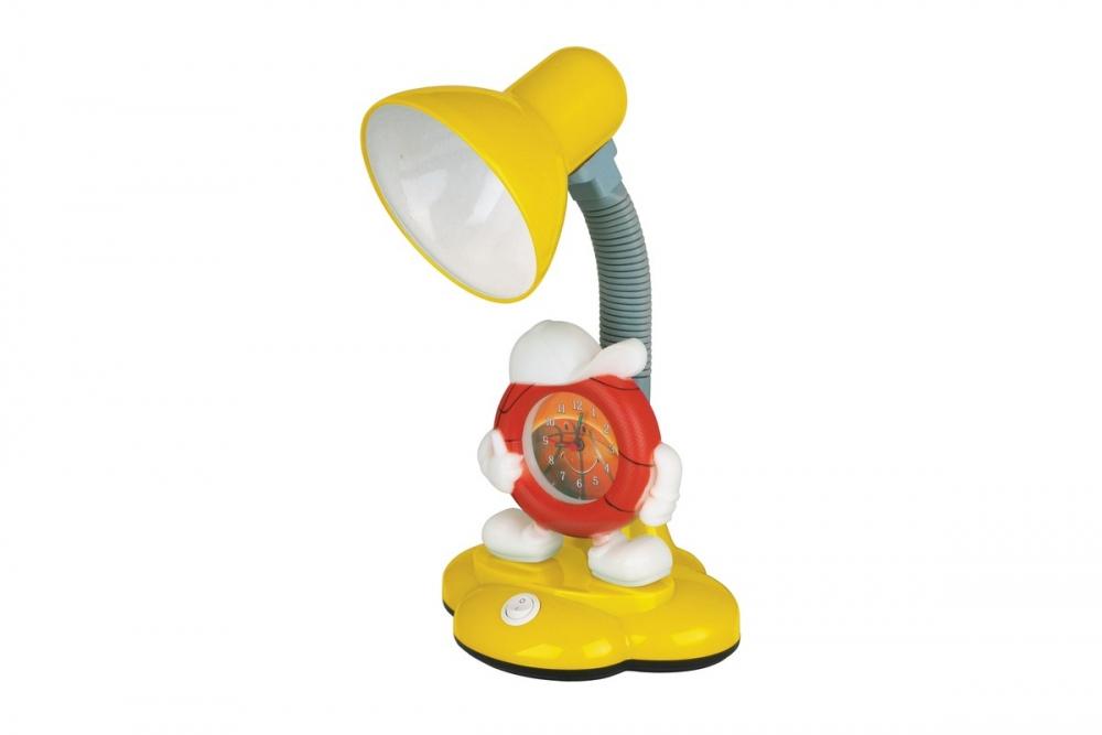 KD-388 С07 желтый Настольный светильник с часами Camelion 12621