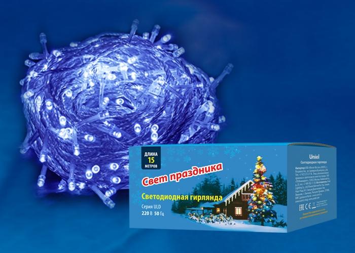 ULD-S1500-100-DTA синий Гирлянда светодиодная с контроллеро  15м Uniel UL-00005255