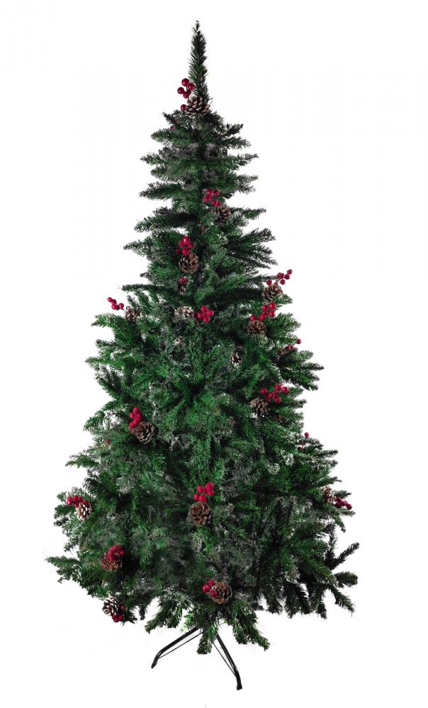 1058895 Ель новогодняя искусственная Christmas (6056-2) 1.8 м с шишками и рябиной