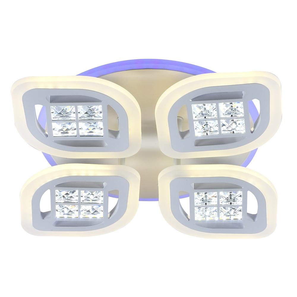 Светодиодная диммируемая люстра с пультом Profit Light 18067/4 B WHT WHT 104W+8W RGB