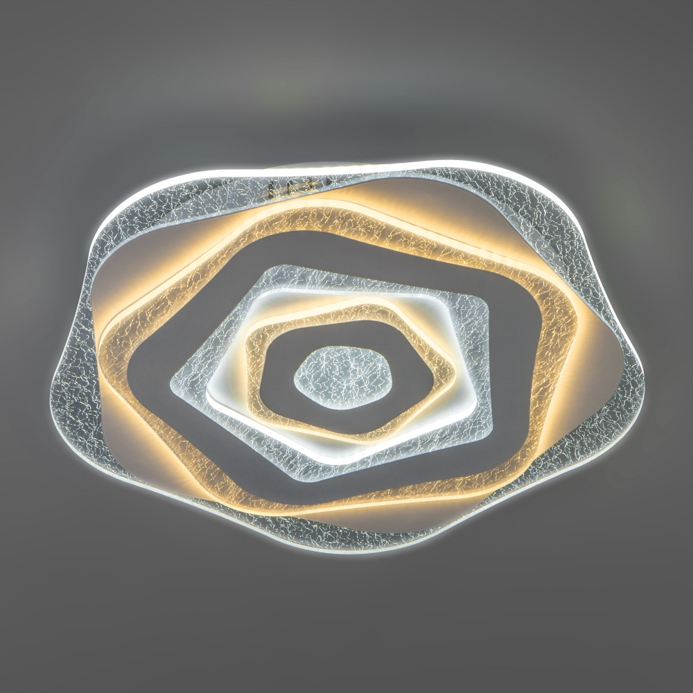 Потолочная светодиодная люстра с пультом управления Евросвет Freeze 90210/1 белый 140W a047358