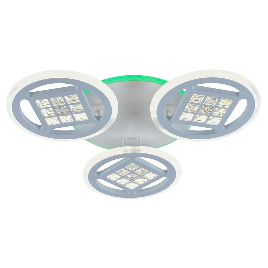 Светодиодная диммируемая люстра с пультом Profit Light 18030/3 WHT 126W+8W RGB