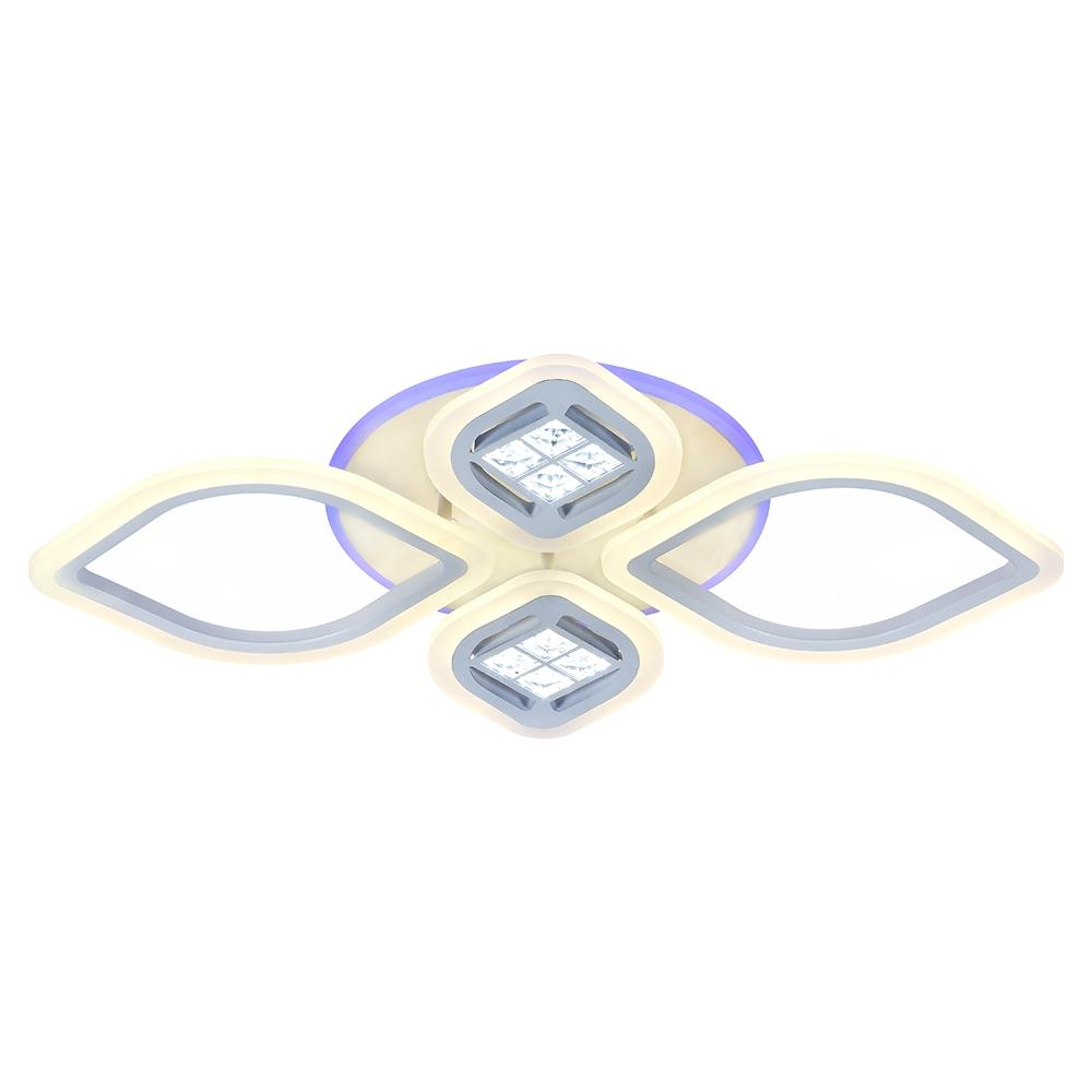 Светодиодная диммируемая люстра с пультом Profit Light 18067/2+2 WHT 100W+8W RGB
