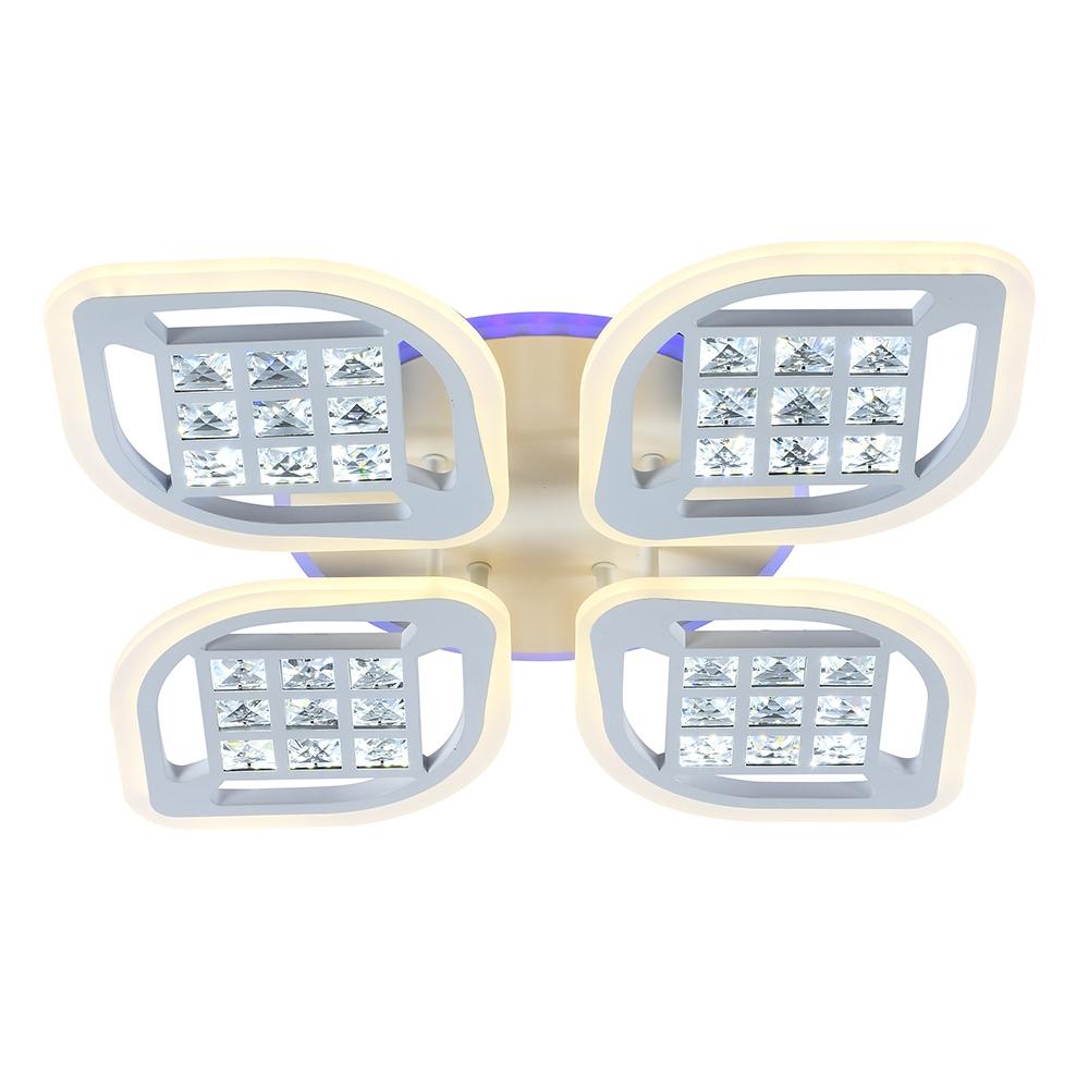 Светодиодная диммируемая люстра с пультом Profit Light 18067/4 A WHT 168W+8W RGB