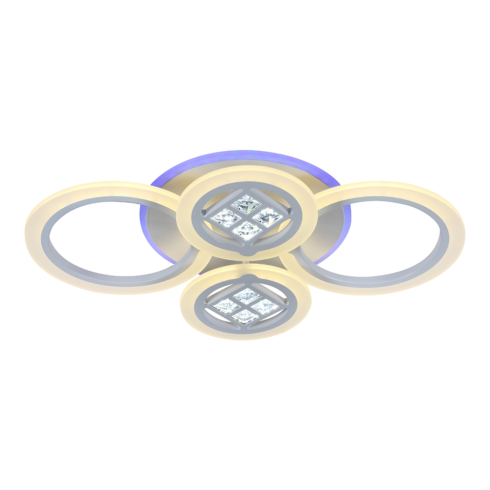Светодиодная диммируемая люстра с пультом Profit Light 18030/4 WHT 96W+8W RGB