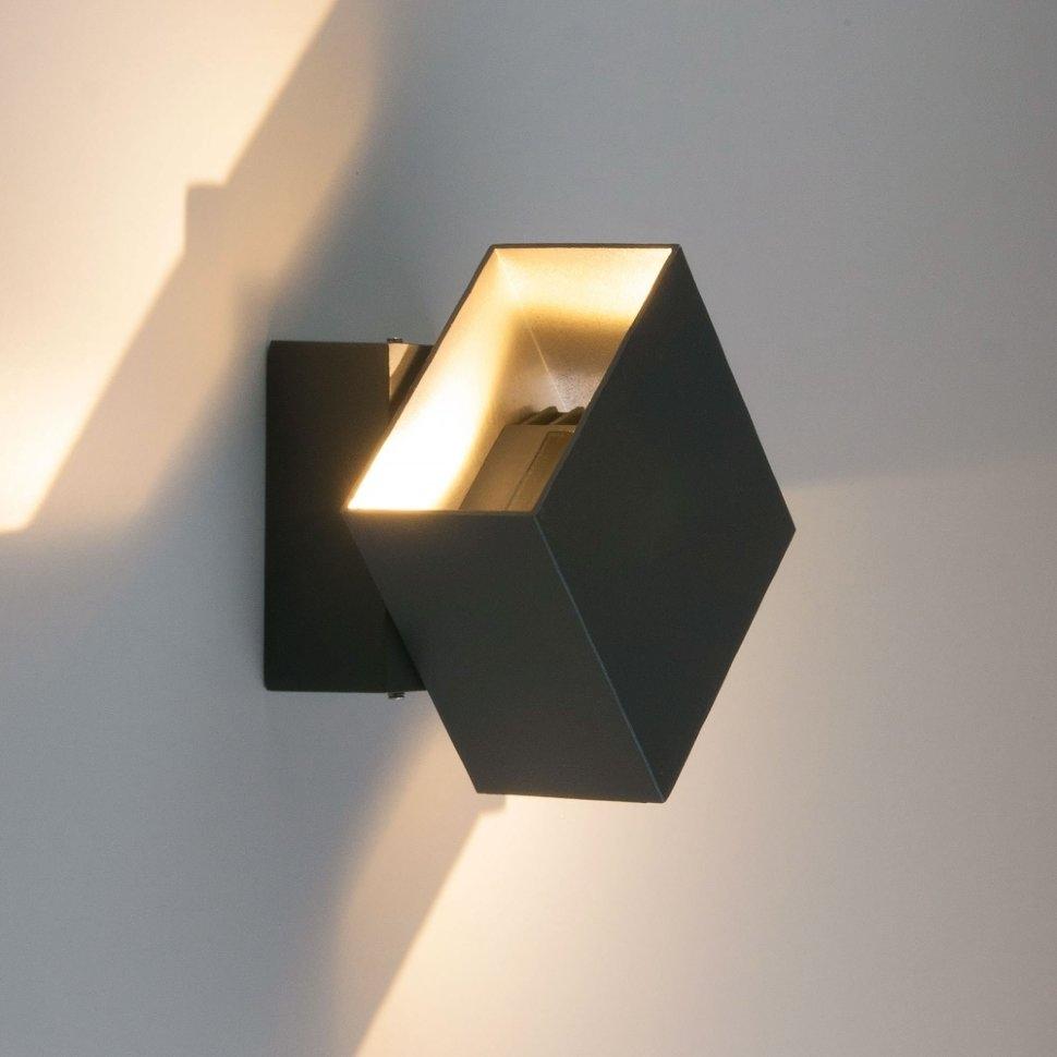 1607 Techno LED Fobos графит Уличный настенный светодиодный светильник Elektrostandard (a035808)