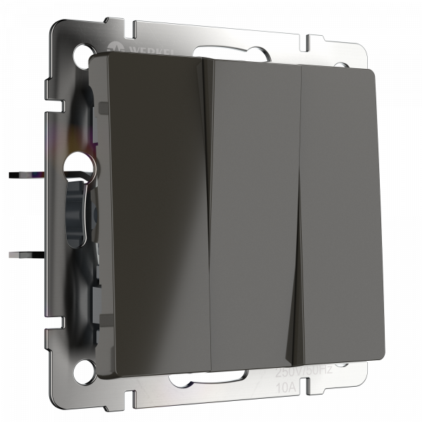 WL07-SW-3G/Выключатель трехклавишный  (серо-коричневый) WERKEL