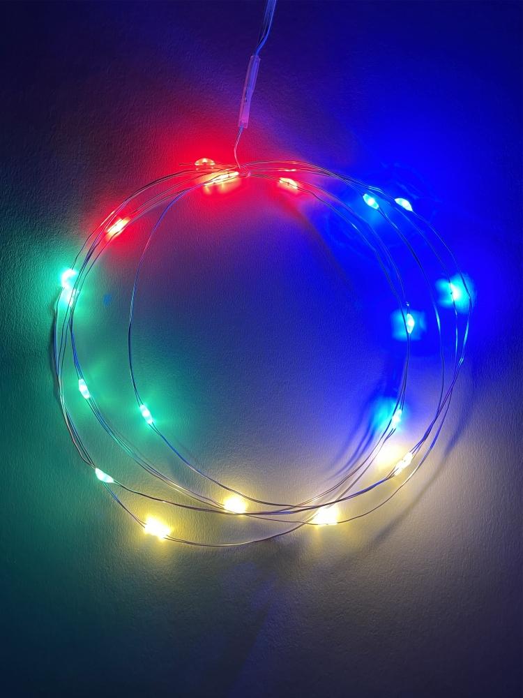 Гирлянда LED Нить 2м мультиколор, ААА*3, IP20 Эра Б0041983 (ENIN-2M)