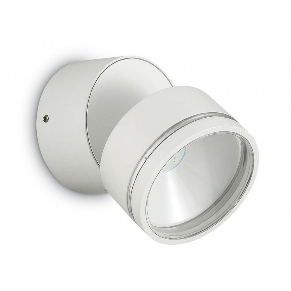 Уличный настенный светодиодный светильник Ideal Lux Omega Round AP1 Bianco