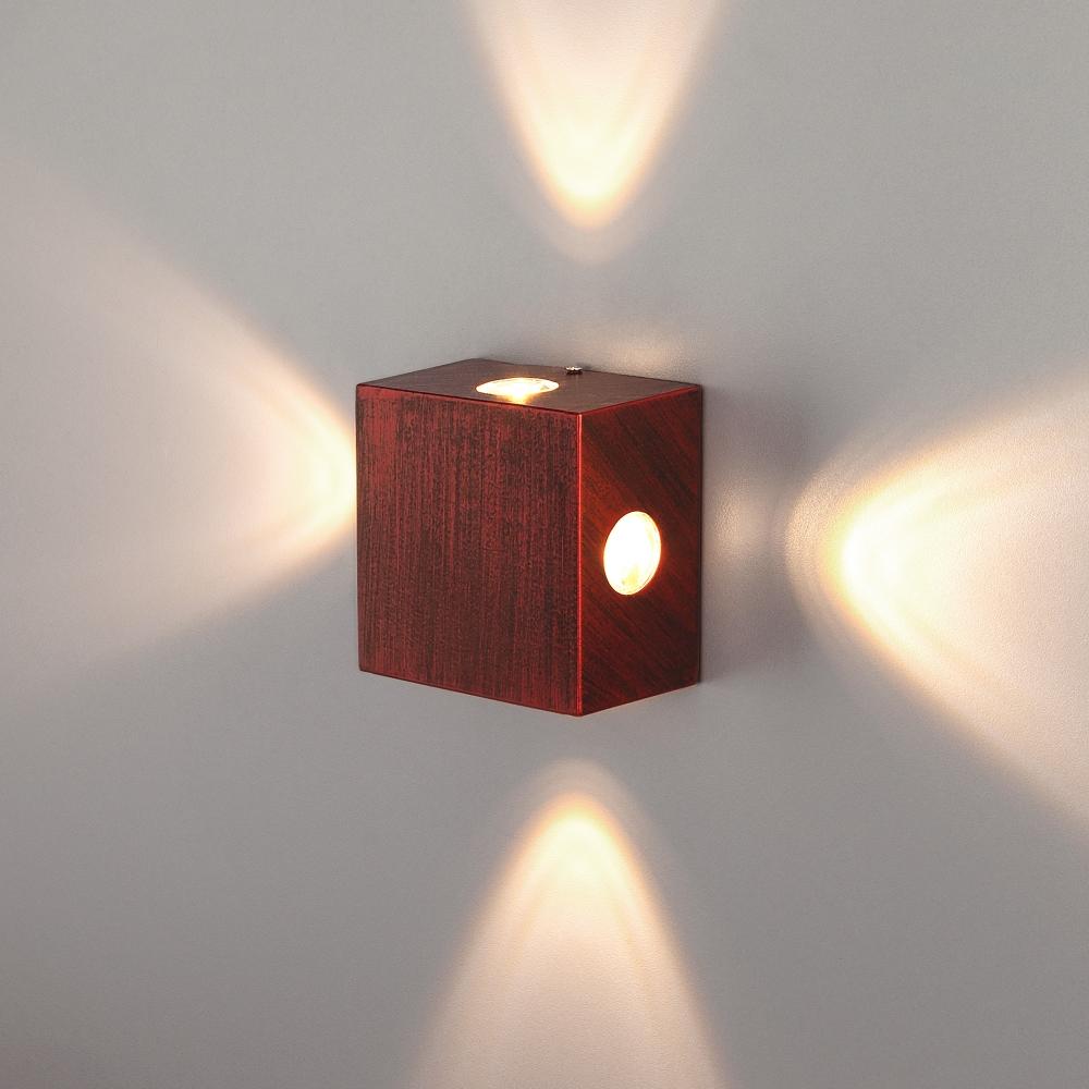 1601 TECHNO LED Kvatra красно-черный Уличный настенный светодиодный светильник Elektrostandard