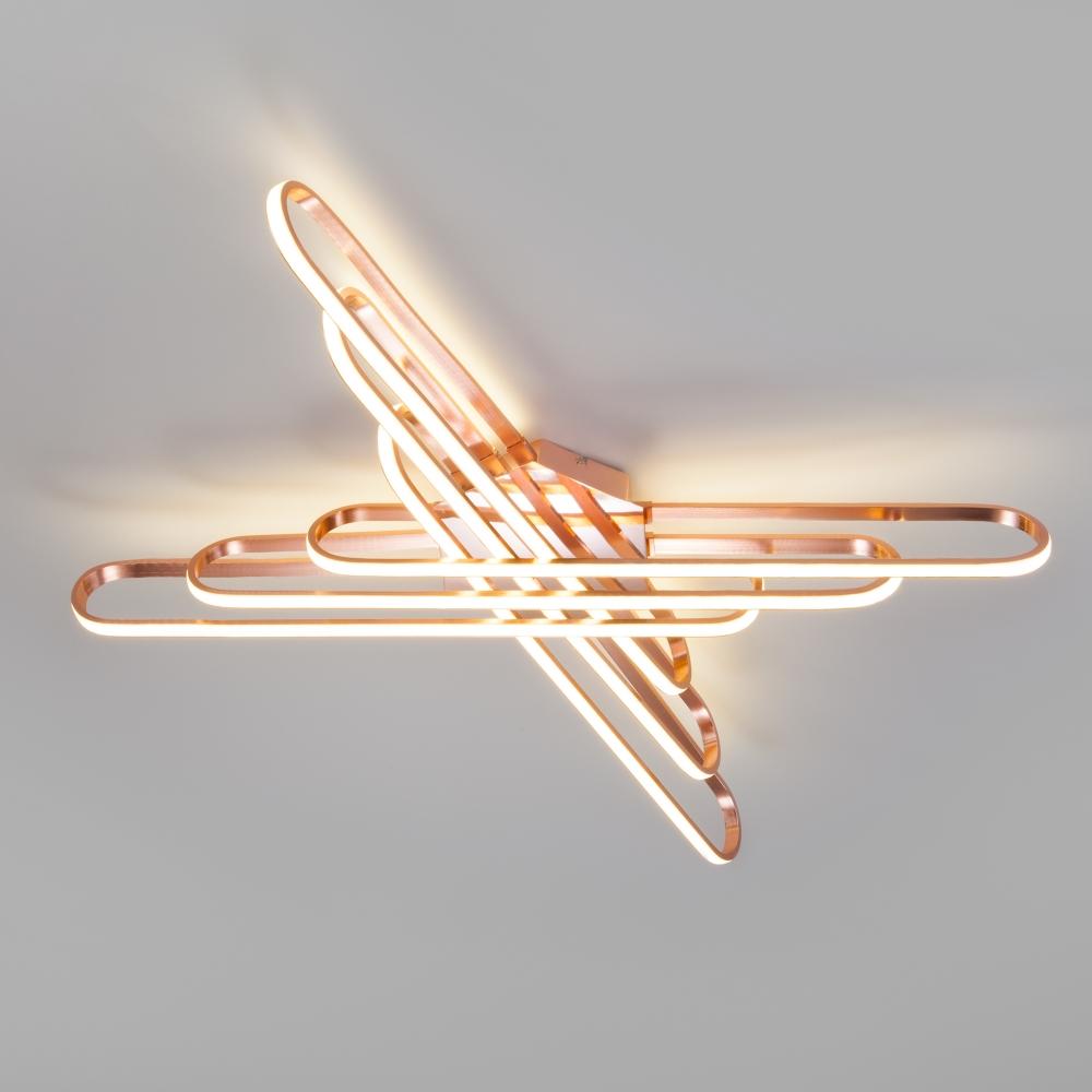 Потолочный светодиодный светильник Eurosvet Staple 90133/6 розовое золото