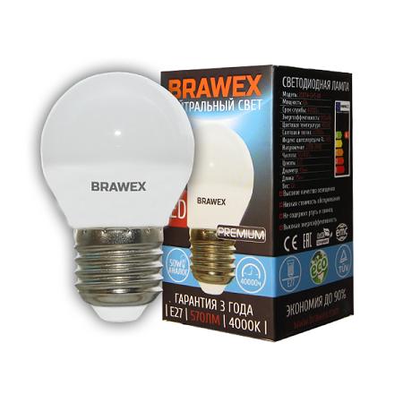 2007A-G45-7N Лампа светодиодная G45 7W 220-240V 4000K E27 IC Brawex